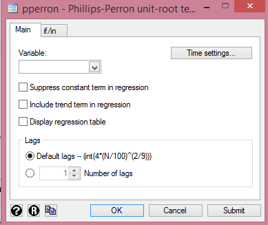 Stata: Phillips-Perron Dialog Box from cruncheconometrix.com.ng