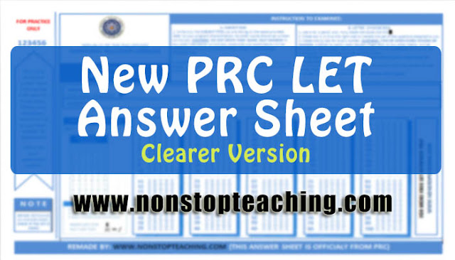 New PRC Sample Answer Sheet for Licensure Examination for Teachers