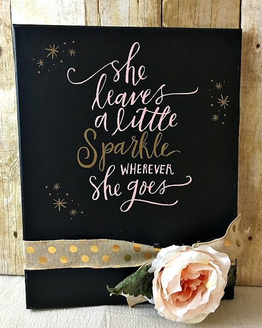Vintage Paint and more... She leaves a little sparkle sign done with Chalk Couture chalk paste and transfer