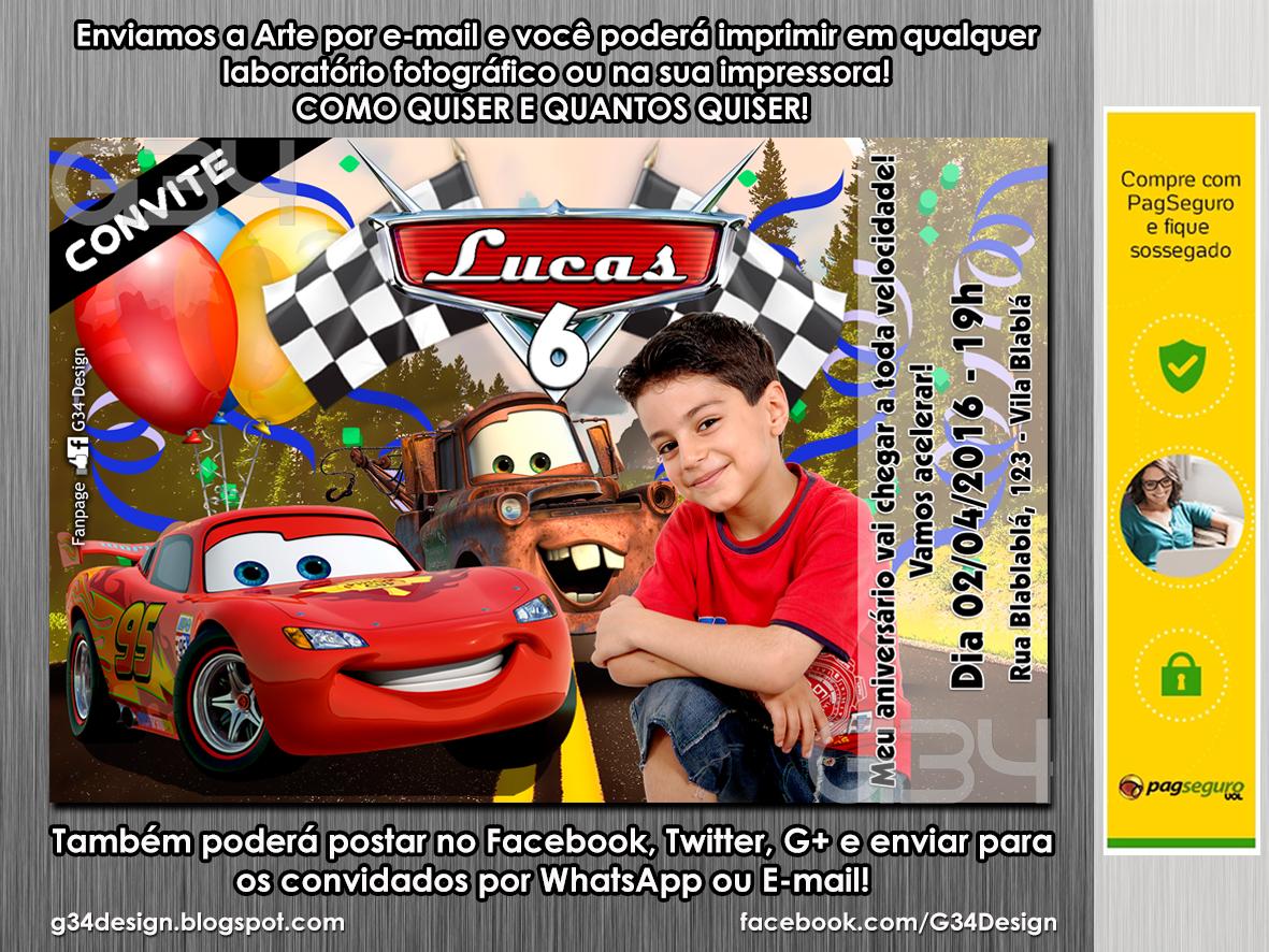 G34 Design Convite De Aniversário Carros