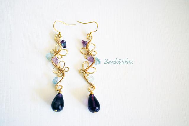 Orecchini farfalle beads&wires