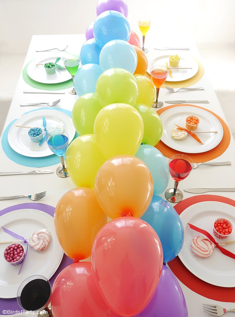 Rainbow Tablescape & DIY Balloon Garland - simple & fun ideas for styling a creative rainbow table with colorful balloon party decor as a table runner! | BirdsParty.com @birdsparty
