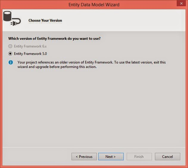 Select entity framework version , i select 5.0 in the project.