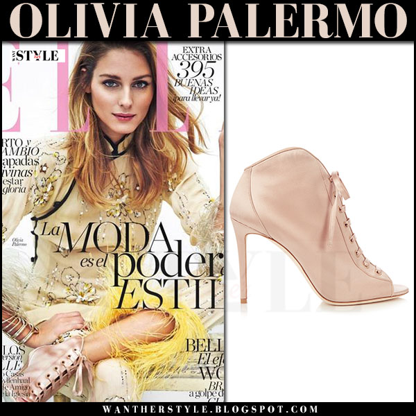 Olivia Palermo in yellow floral embellished prada jacket and pink satin jimmy choo freya booties Elle Spain April 2017 what she wore