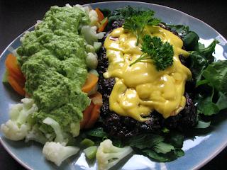 liver burger and vegetables