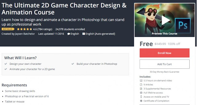 [100% Off] The Ultimate 2D Game Character Design & Animation Course  Worth 149,99$