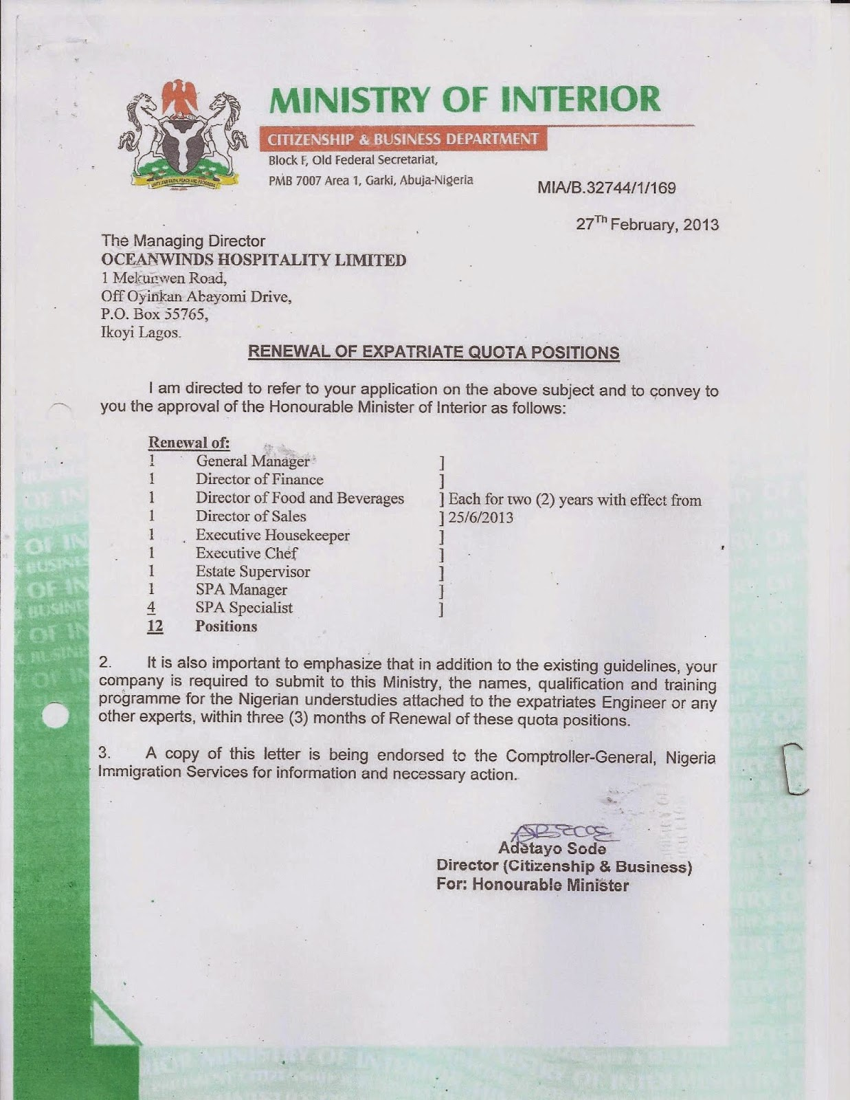 Ministry+of+Interior+Nigeria Sample Application Letter For Police Applicant on teaching position, for school board, for transfer, for housekeeping, college scholarship, any position, high school,