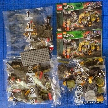 LEGO TMNT Turtle Van Takedown Set 79115 Review bags in box