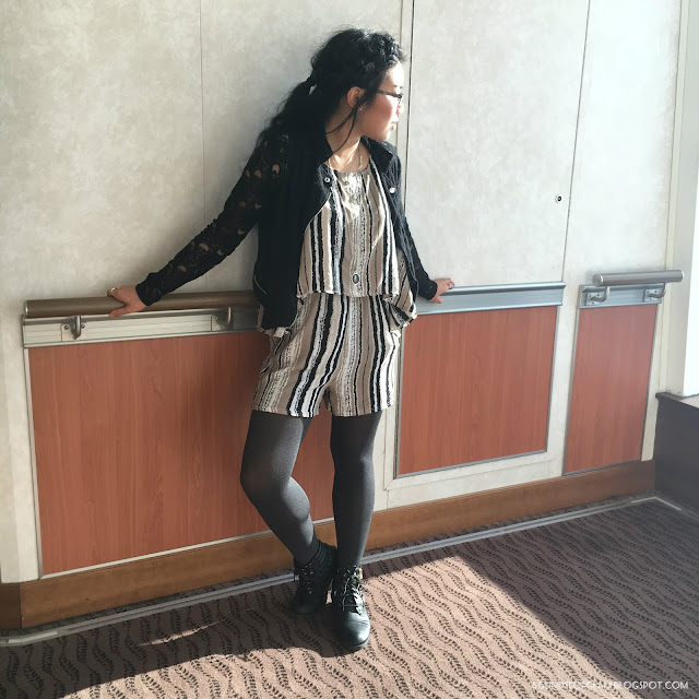 OOTD Fall Striped Romper - Andrea Tiffany A Glimpse of Glam