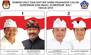 Dua Pasang calon gubernur-wakil gubernur Bali 2018
