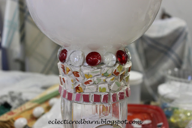 Eclectic Red Barn: Thin set on vase with some stones added