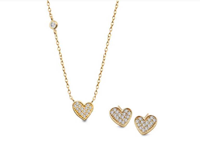 YES świąteczny komplet Unique złote serduszko co kupić na święta dziewczynie stylowy prezent