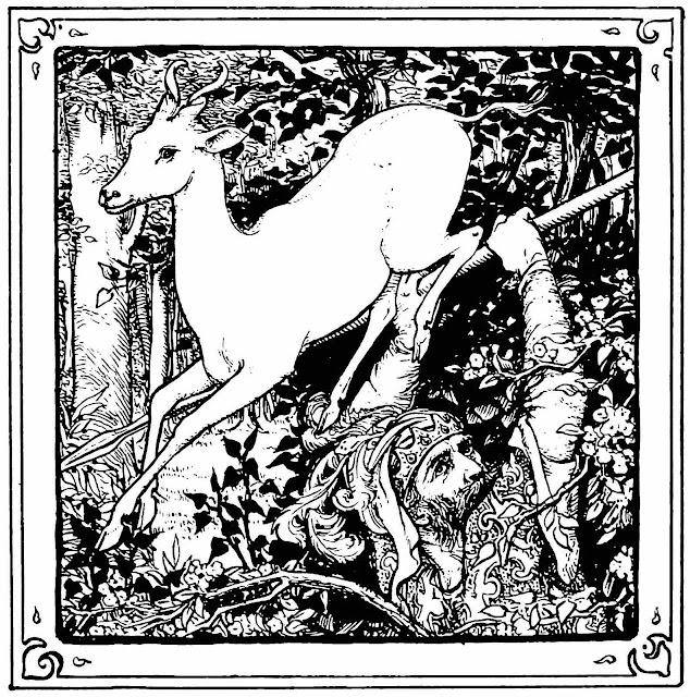 a John D. Batten illustration of hunter and deer