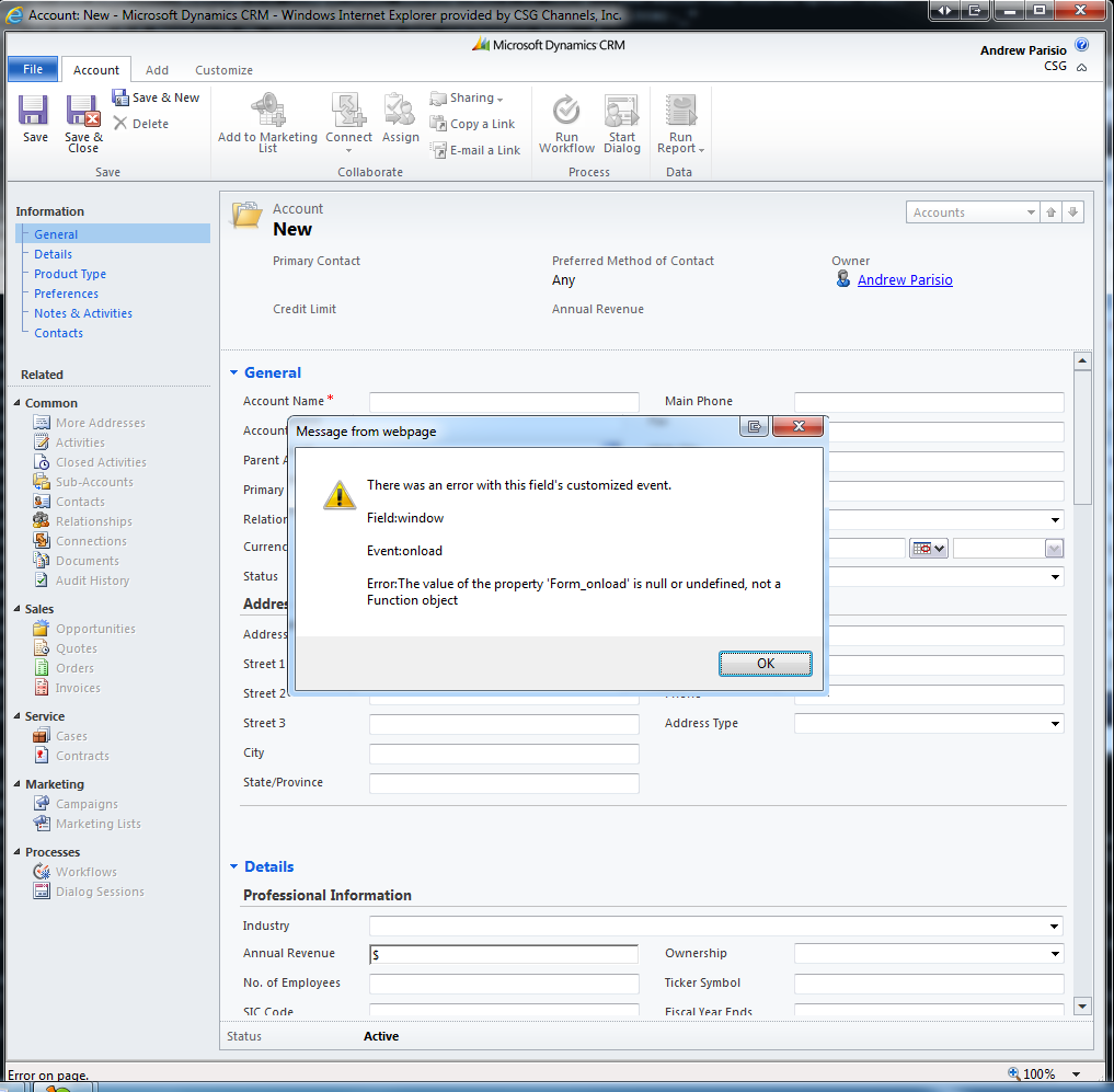 Andrew's Tech Page: After upgrading from CRM 4 0 to CRM 2011 I get