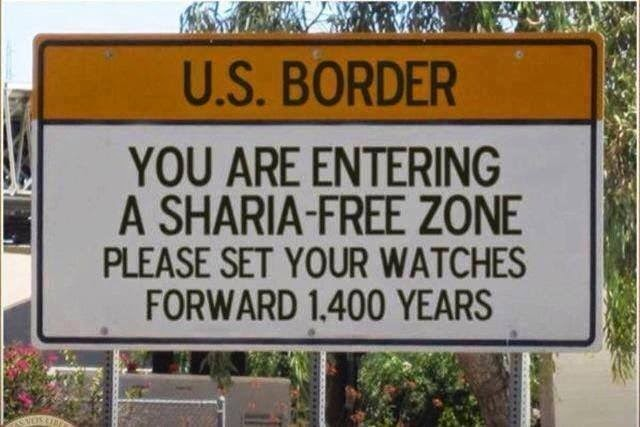 Funny US Border Sharia-Free Zone Sign Joke Picture