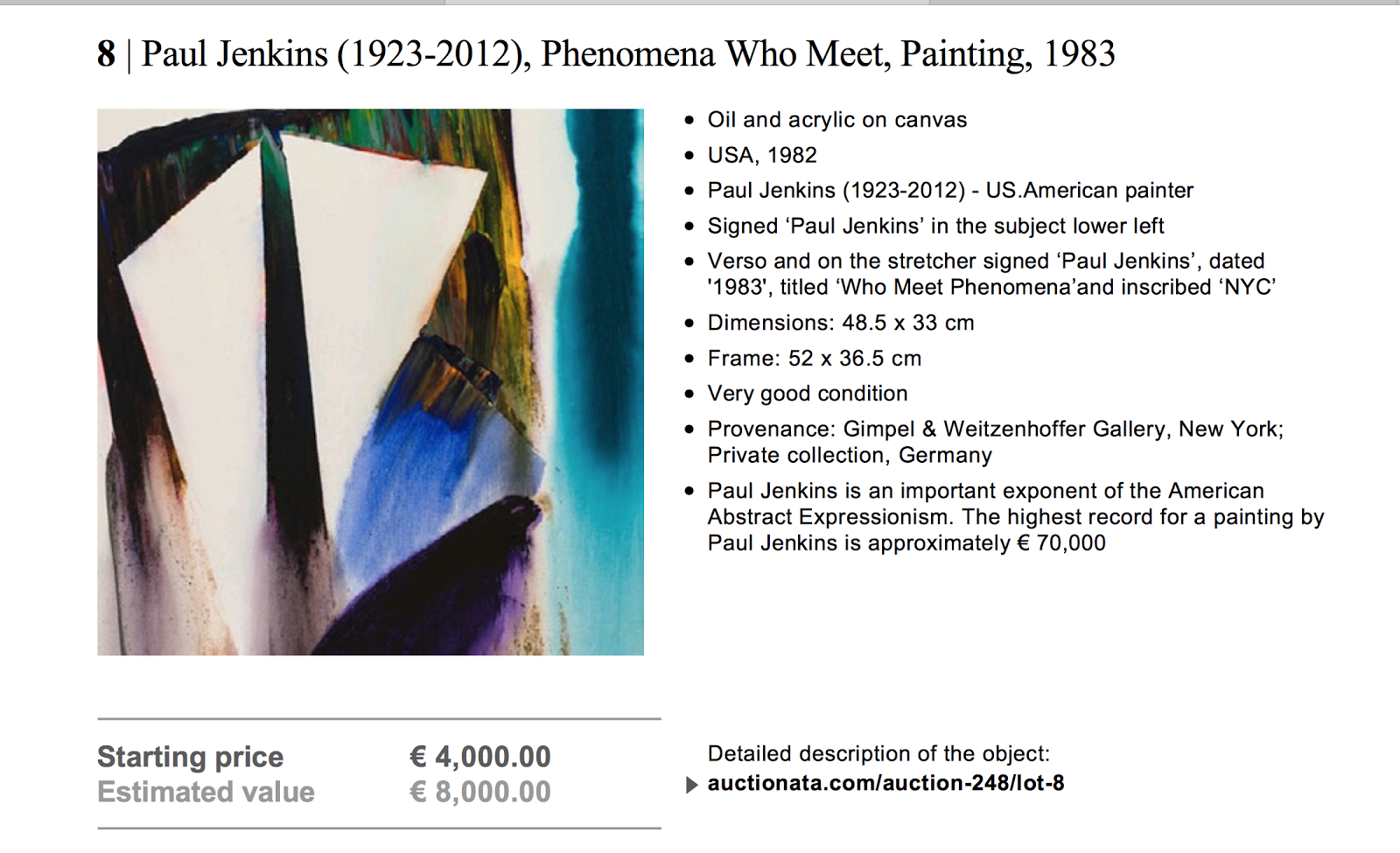 Why did Auctionata Expert indicate erroneous €70K comparable for small Paul Jenkins painting?