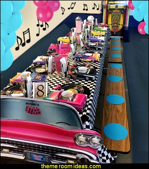 Pink Convertible Photo Prop Party Accessory  50s party ideas - 50s party decorations - 1950s Theme Party - 1950's Rock and Roll Themed Party Supplies - 50s Rock and Roll Theme Party - 50s party decorations - 50s party props - 50s diner party