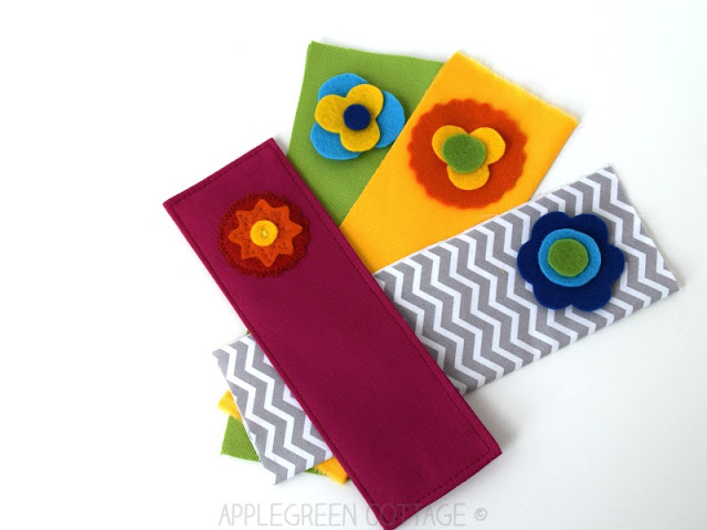 Learn how to make a fabric bookmark with a felt appliqué. Tutorial by Apple Green Cottage