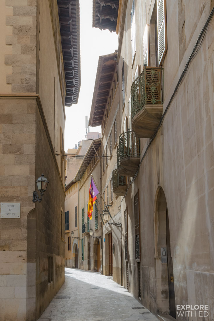 Beautiful old town streets in Palma de Mallorca