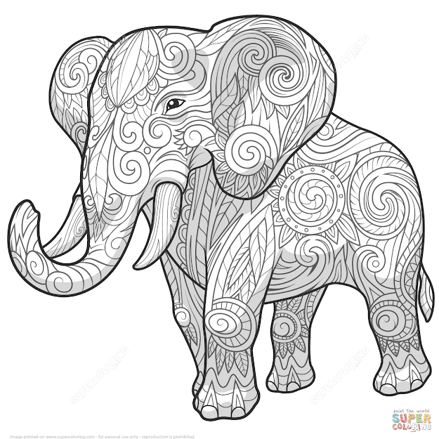 Elephant Mandala Coloring Pages With Adult Archives