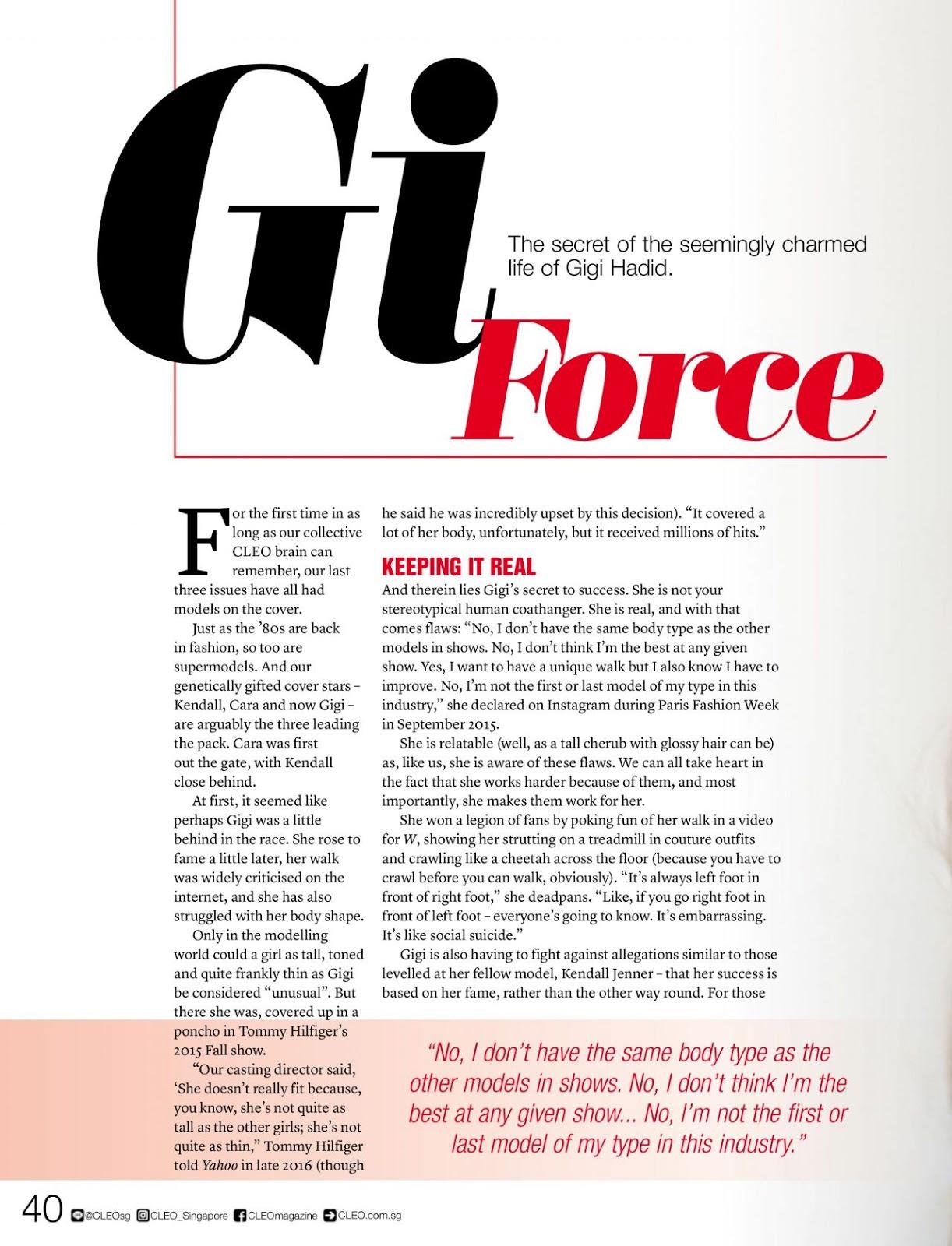 Gigi Hadid – Cleo Singapore February 2017 Issue