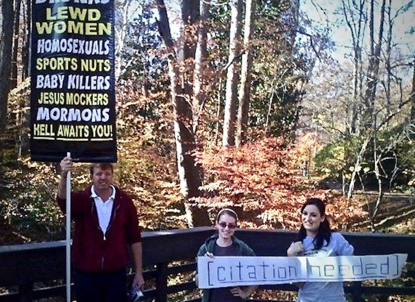 College students' counter protest sign to religious wacko. Citation Needed. marchmatron.com