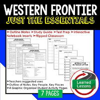 Western Frontier, American History Outline Notes, American History Test Prep, American History Test Review, American History Study Guide, American History Summer School, American History Unit Reviews, American History Interactive Notebook Inserts