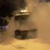 Τρία κατεστραμμένα τρόλλεϋ, από επίθεση αντιεξουσιαστών στην Πατησίων, μπροστά από το Πολυτεχνείο