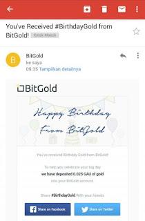notifikasi email BitGold Alat pembayaran dengan Emas Asli yang memberi saya hadiah ulangtahun