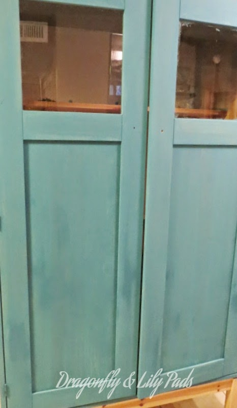 Ikea Cabinet DecoArt, Decor Americana Chalky Paint Finish, First coat Treasure