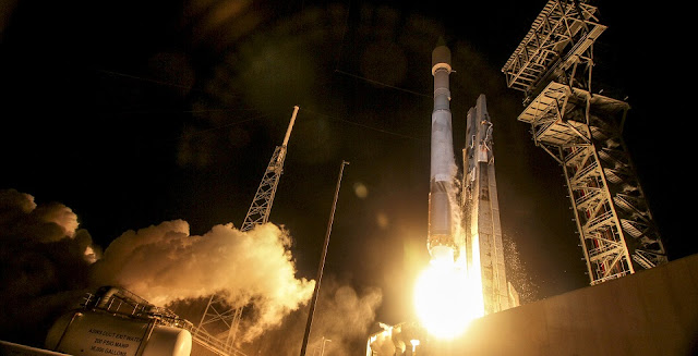 A United Launch Alliance (ULA) Atlas V rocket carrying the OA-6 mission lifted off from Space Launch Complex 41 at 11:05 p.m. EDT on March 22, 2016. Credit: ULA