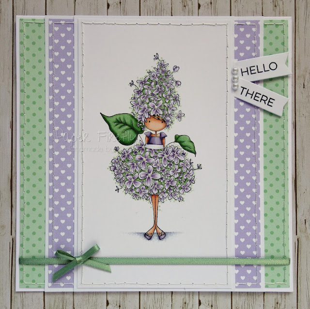 Handmade card featuring Tiny Townie Garden Girl Lilac by Stamping Bella