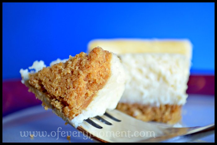 Cheesecake with a perfect graham cracker crust.