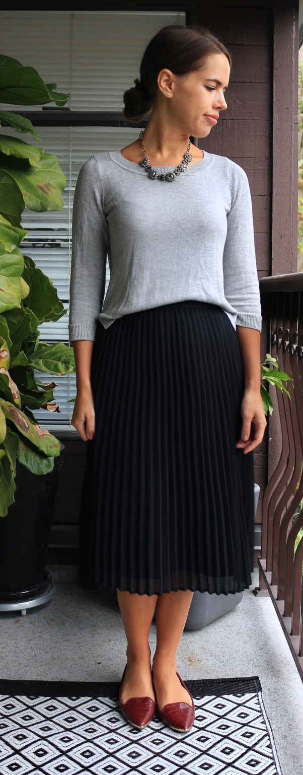 Jules in Flats - Pleated Midi Skirt for Work (Fall Workwear on a Budget)