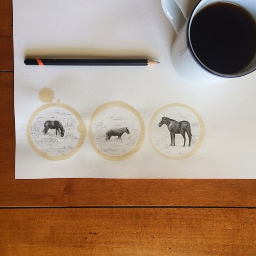 Unique Pencil Drawing Art Integrates With Round Stains Of Coffee Mugs         |          Vigorous Art