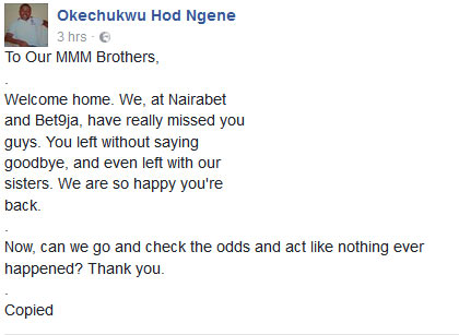 Lol. See what Nairabet gamblers wrote to MMM participants after pyramid scheme crashed