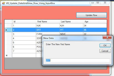update datagridview selected row