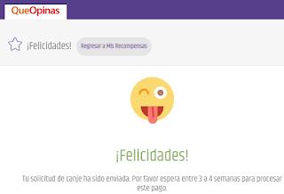 pantalla de felicidades queopinas.com