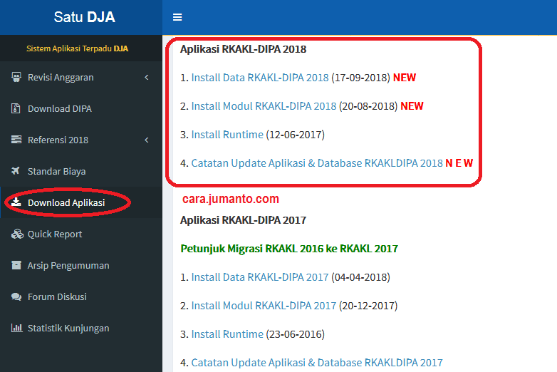 download update aplikasi rkakl 2018 terbaru