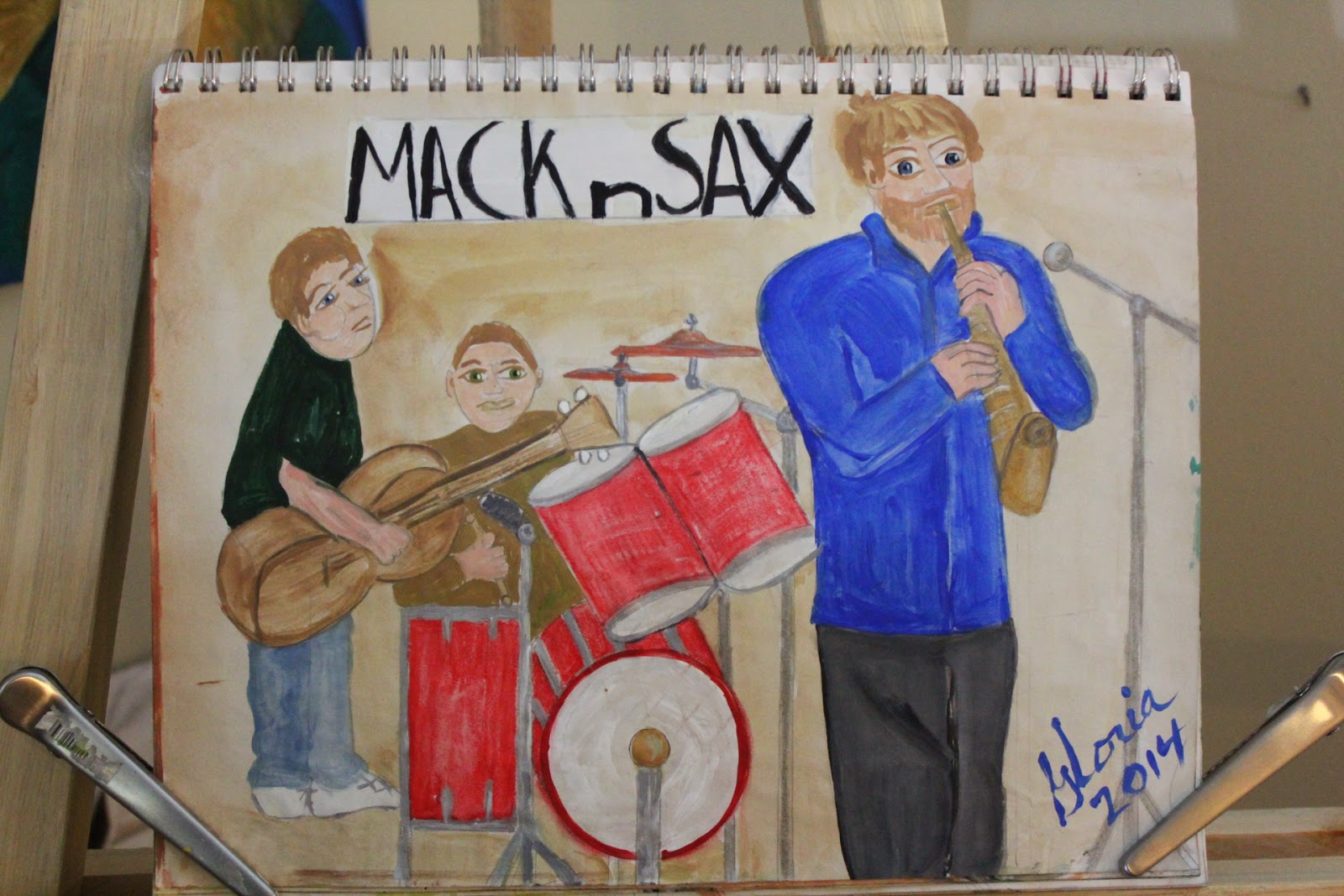 """Mac n Sax"" sketch by Gloria Poole of Missouri; 2014; acrylics"