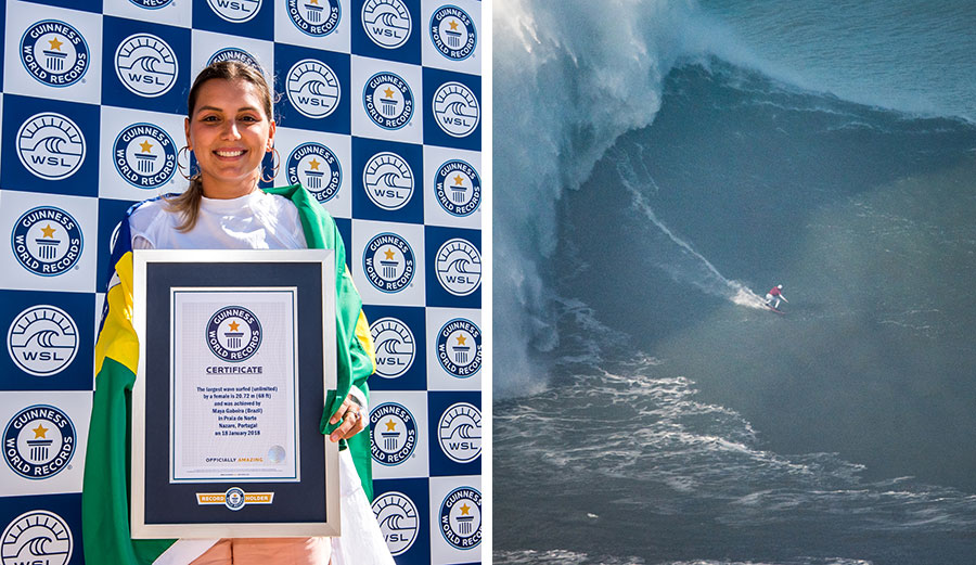 Female Surfer Set World Record By Riding A 68-Foot Wave