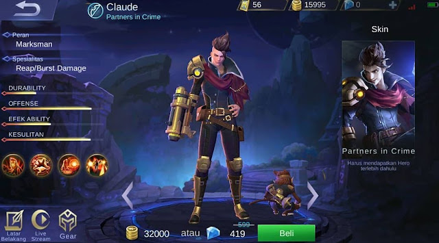 kapan hero Claude keluar di server ori mobile legends
