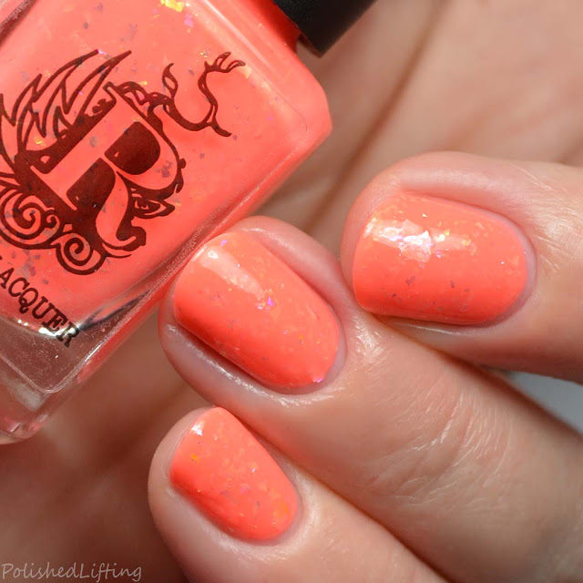 neon coral flakie nail polish