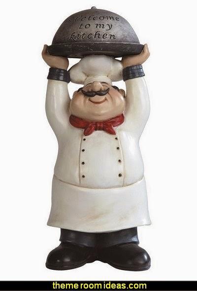 "Fat Bistro Chef ""Welcome My Kitchen"" Poly Resin Figurine Statue Kitchen Decoration"