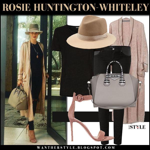 Rosie Huntington-Whiteley in beige silk raquel allegra coat, black skinny maternity paige jeans with beige fedora rag bone what she wore model style