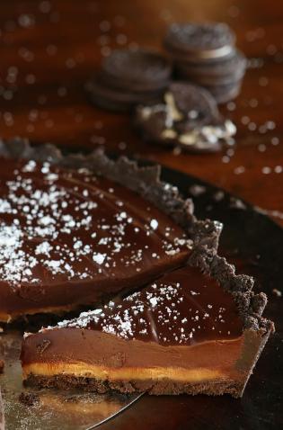 Salted Caramel Dark Chocolate Pie
