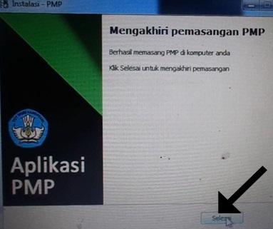 Klik selesai untuk mengakhiri update PMP versi 1.2 ke 1.3