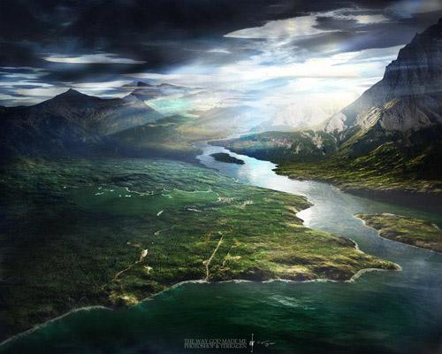 صورة نهر وغيوم وبحر وجبال جميلة جدا