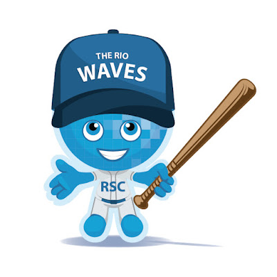 Rio Waves mascot Splash in a baseball outfit
