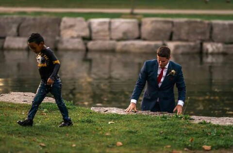 See How a Groom jumps inside river during Photographs on His Wedding Day to Save Drowning Boy (Photos)